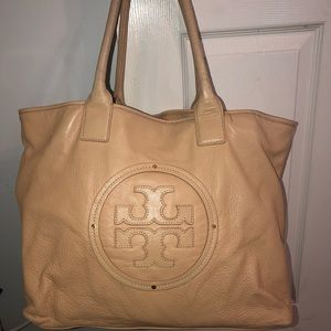 Tory Burch Soft Leather Tote Bag Beige